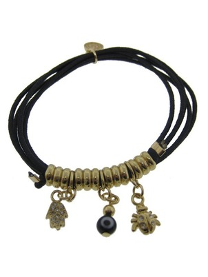 Three Charm Black Bracelet