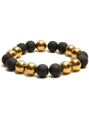 Golden Glass and Rubber Bead Bracelet