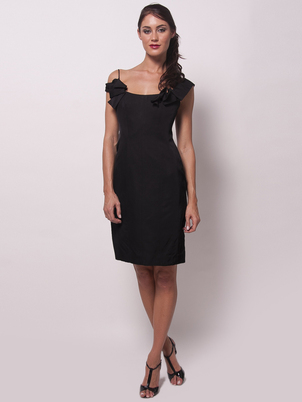 Skinny mikado cocktail dress black