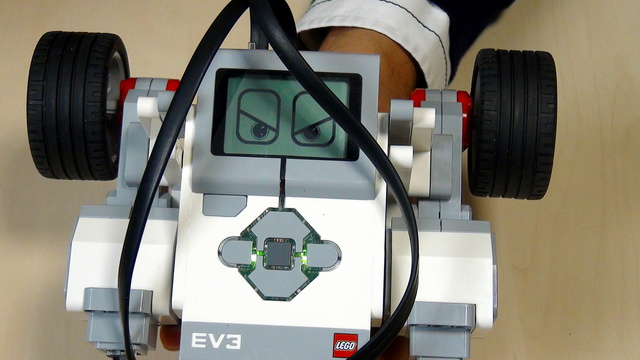 Image for EV3 Phi. Task - make the robot greet a stranger and leave