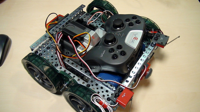 Image for VEX EDR Intro. Add bumper switch construction in front of the robot
