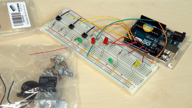 Image for Arduino Basic Course. Unpacking the set. Names of the elements