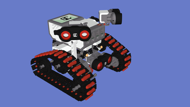 Learn how to build Folk Race tank robot with Chains and Three Ultrasonic Sensors by following these building instructions