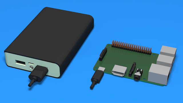 Image for How to Connect The Power Bank To The Raspberry Pi - 3D Scheme