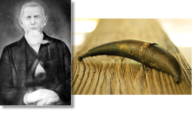 George Washington Sanchez and his powderhorn