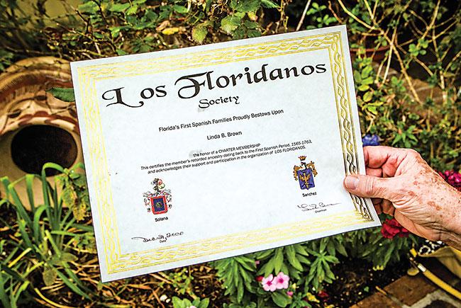 Linda Brown's Los Floridanos certificate