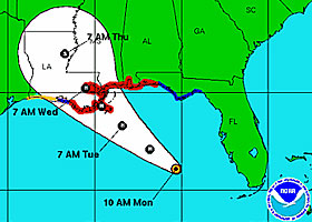 Tropical Storm Isaac - projected path