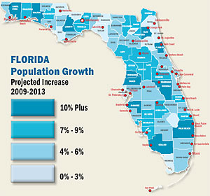 Florida Population Projection map
