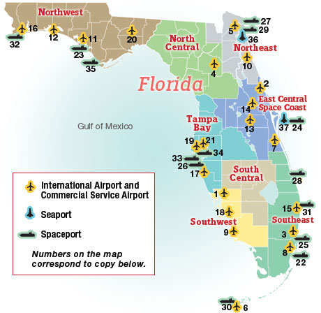 Map Of Florida Airports And Seaports Business Florida 2011 Florida Trend