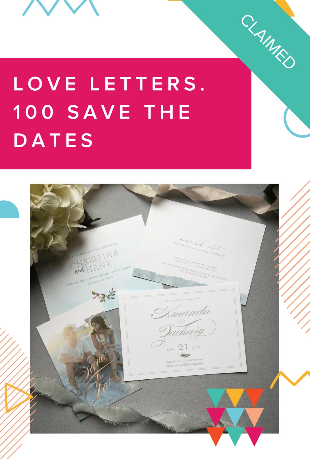 Papertree Loveletters 100 save the dates - claimed