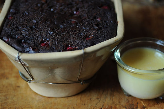 Cranberry-Molasses Pudding with Vanilla Hard Sauce