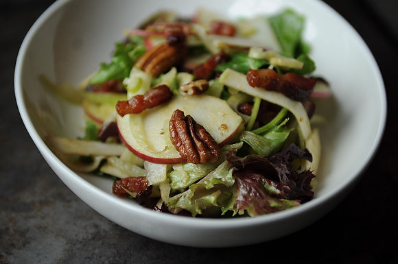 Not-Too-Virtuous Salad with Caramelized Apple Vinaigretter