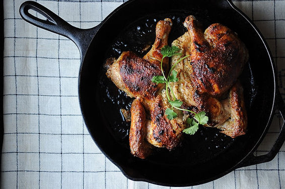 Roasted Butterflied Chicken with Cardamom and Yogurt
