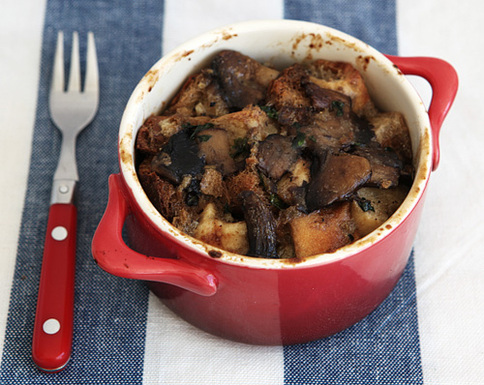 Mushroom Bread Pudding