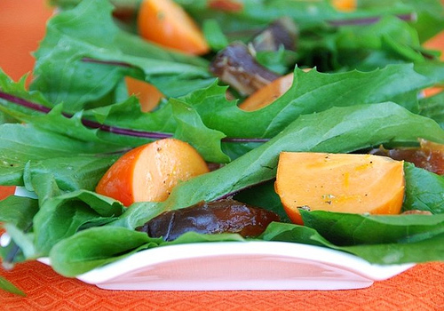 Dandelion, Persimmon and Medjool Date Salad