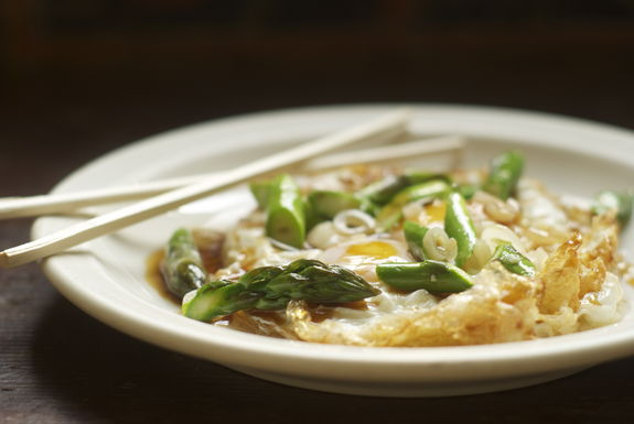 Fried Eggs with Asparagus, Ramps and Oyster Sauce