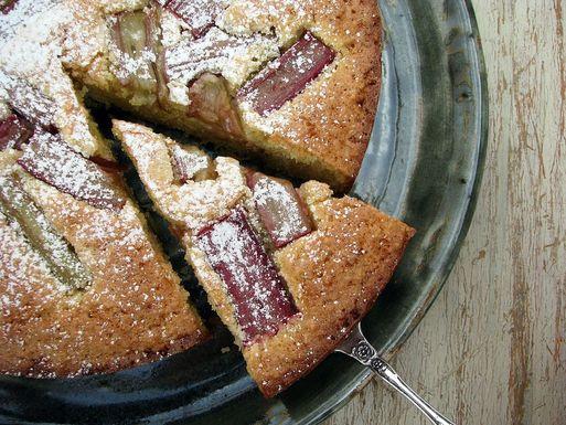 gluten-free rhubarb, lemon and almond cake