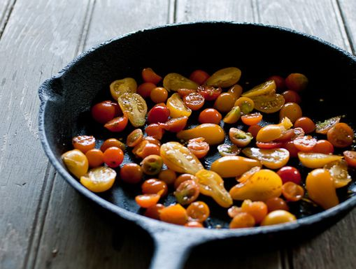 Roasted Sungold and Pear Tomatoes with Fontina and Thyme