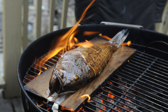 Cedar Plank Grilled Sea Bass