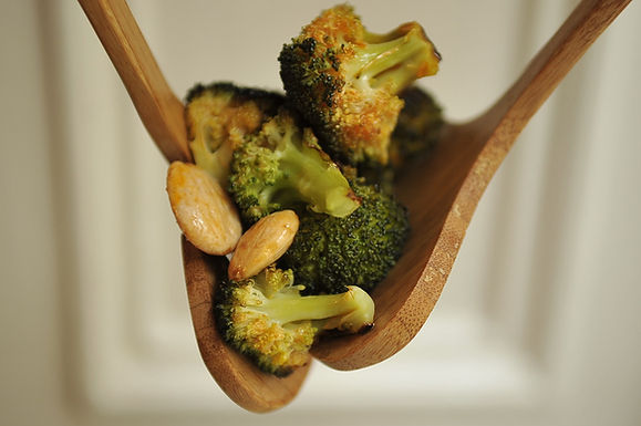 Roasted Broccolli with Smoled Paprika Vinaigrette and Marcona Almonds