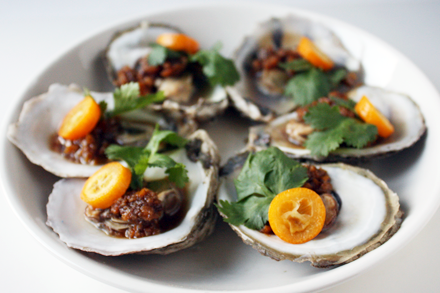 Steamed Oysters with Tangerine Peel Sauce