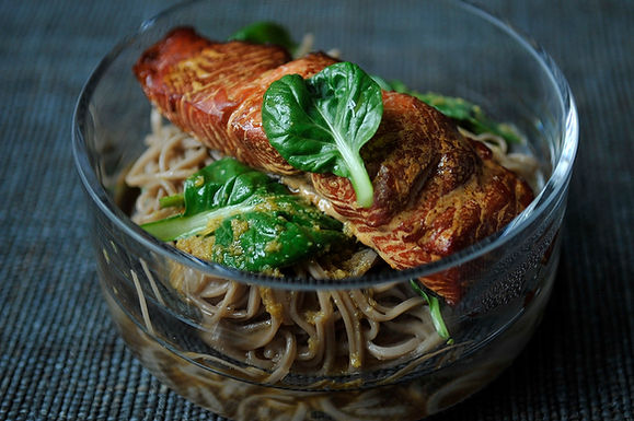 Hot Smoked Salmon with Soba