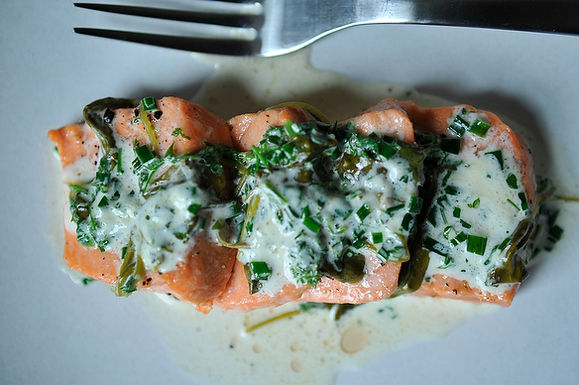 Salmon in Sorrel Sauce
