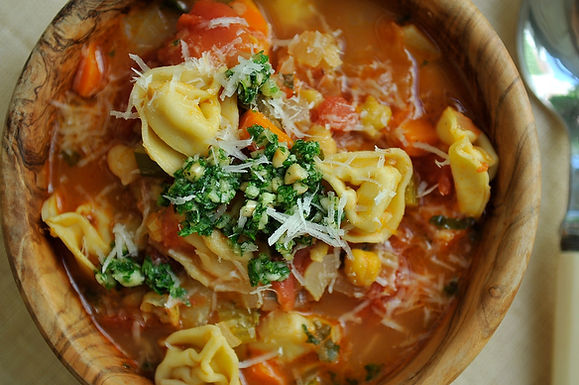 Smoky Minestrone with Tortellini and Basil or Parsley Pesto