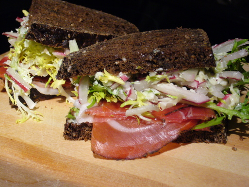 Speck, Fris&eacute;e, Onion, Radish Butter Sandwich