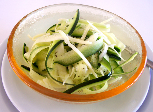 zucchini pecorino cheese salad with truffle oil