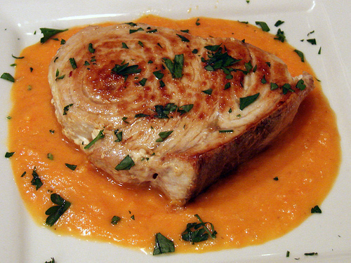Seared Swordfish with Tomato Saffron Coulis
