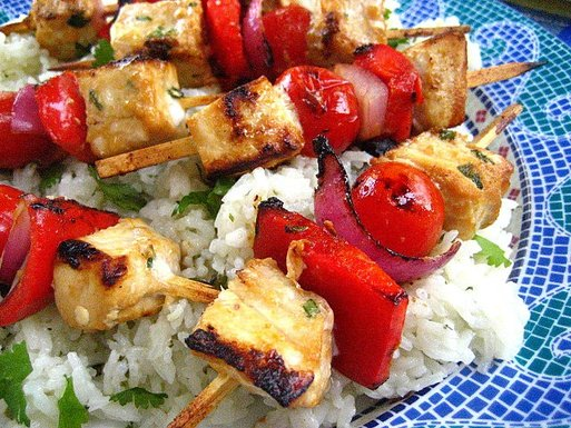 tamari citrus swordfish kabobs