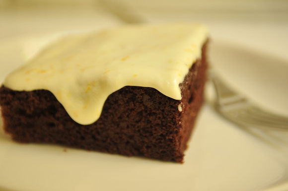 Deep Chocolate Cake with Orange Icing