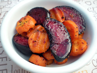 Roasted Plum Tsimmes with Honey-Cider Reduction