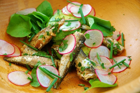 Sardine, Avocado and Radish Salad with Upland Cress recipe from food52