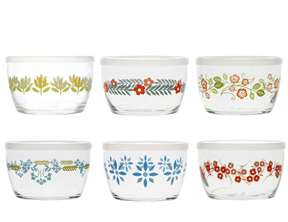 6 Vintage Flower Storage Bowls