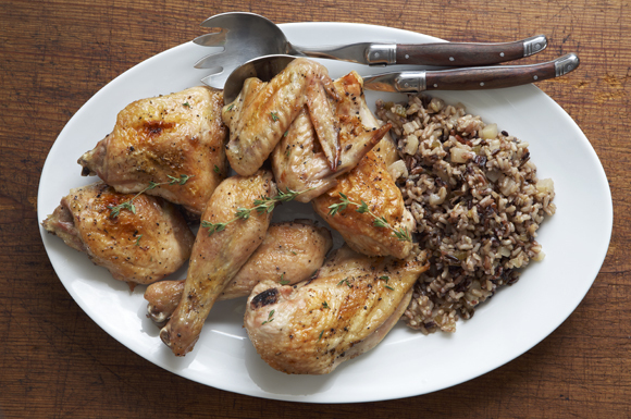 Baked Maple Chicken with Wild Rice and Bartlett Pear Pilaf