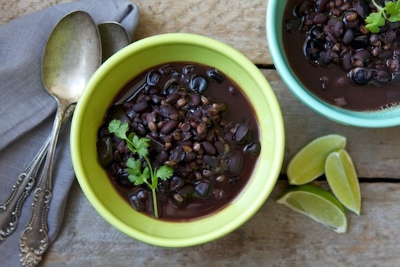 Black Bean, Black Barley, and Blue Corn Posole Soup