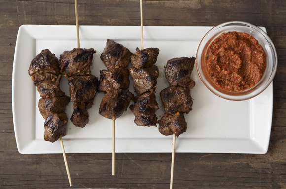 Beef Skewers with Romesco Sauce