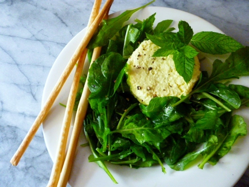 Green_tea_infused_minted_savory_custards_with_arugula_salad