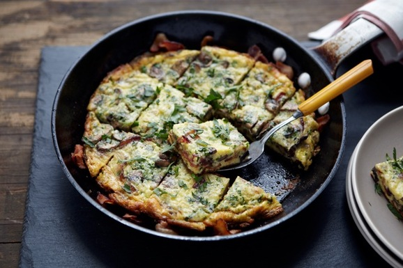 Bacon Wrapped Mushroom and Gruyère Frittata