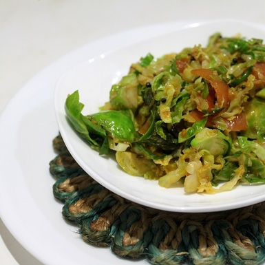 Stir Fried Brussels with Ginger and Indian Spices