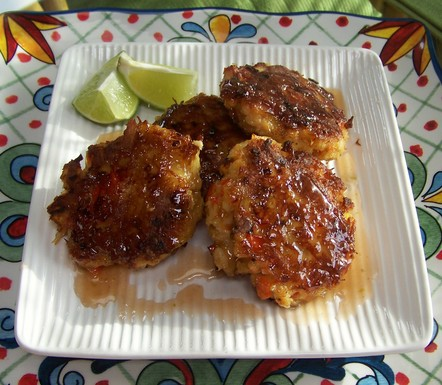 Blushing Crab Cakes with Rhubarb Sauce