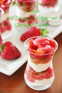 Rhubarb & Strawberry Parfaits with Mascarpone Yogurt and Shortbread Crumble