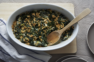 Make a Little, Buy a Little: Greens and Goat Cheese Gratin
