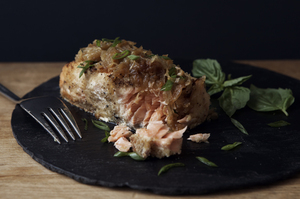 Make This Tonight: Almond Crusted Salmon with Caramelized Onions and Basil