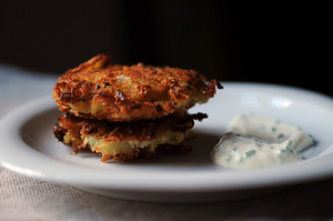 Dinner Tonight: Latkes & Mushroom Barley Soup