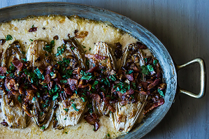 Easy Everyday: Cream Baked Endive with Bacon and Pecans