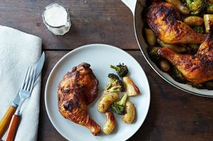 Easy Everyday: Roasted Achiote Chicken with Potatoes, Broccoli, and Tangerine Aioli