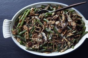 Make It Meatless: Green Bean Casserole + Black Pepper Popovers with Chives and Parmesan